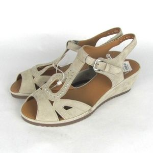 ara Charlotte T Strap Wedge Lino Suede Sandals 6
